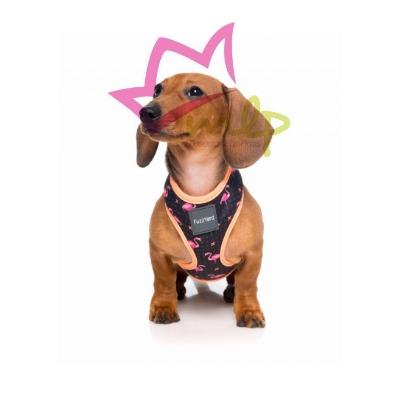 arnes acolchado para perros con flamenco rosas, transpirable y flexible.