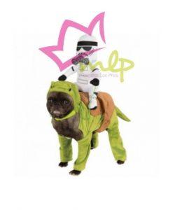 Disfraz para perros pequeños de dewback donde va montado un soldado imperial, star Wars original