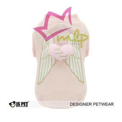 sudadera para perros ispet, decorada con unas alas y un corazón en relieve, color rosa y fabricada en 100% algodón.