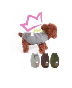 Jersey de punto para perros pequeños, adornado con un hueso bordado y un bolsillo en el lomo.sin mangas, fácil de llevar por el perro.