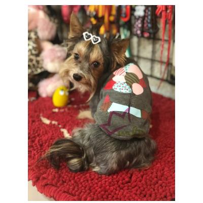 sudadera para perros pequeños y gatos, en la espalda lleva un dibujo de un perro salchicha con globos de colores, interior polar muy calentito.