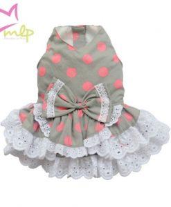 Vestido Topos, en color gris con lunares rosas. Viste a tu pequeña a la ultima con este vestido.