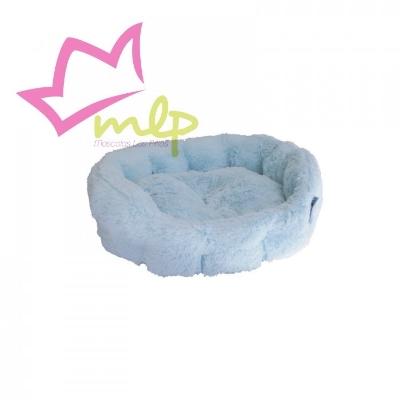 Cama Baby Peluche para perros y gatos. Recubierta entera de tela suave y mimosa de peluche. Disponible en dos colores, rosa y celeste.