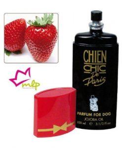 Perfume Chien Chic fresa. Perfume profesional a base de aceite de Jojoba, su poca cantidad de alcohol permite un uso diario aunque no necesario debido a su larga duración.