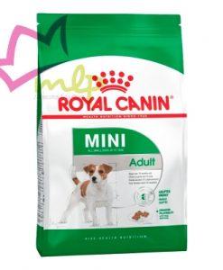 Mini Adult Royal Canin para perros adultos de razas pequeñas hasta los 8 años y que pesen menos de 10 kg. La fórmula fortalece el sistema inmunológico y evita el envejecimiento de las células pues contiene antioxidantes y aminoácidos como la metionina y cistina que junto a vitaminas y minerales ayudan a su cerebro; cuida de la piel y el pelo con omega 3 y 6 que a su vez evitan que se inflame el intestino.