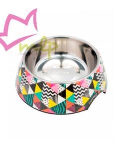 Comedero No Signal. Comedero para perros de acero inoxidable que se puede lavar en el lavavajillas. Están hechos de melamina resistente con certificado de garantía 100% BPA Free para cuidar de la salud del perro. Desmontable para que se pueda usar de comedero y bebedero y con una goma antideslizante en la base. Su diseño está grabado en máxima definición. MATERIAL: Interior de acero inoxidable, base de melamina con certificado de garantía 100% BPA Free, base de goma antideslizante. MEDIDAS: S: 190ml de capacidad. M: 400ml de capacidad.