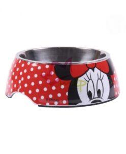 Comedero Minnie de Disney para perros y gatos Comedero de melamina y plato de acero DISNEY©. Diseño de Minnie exclusivo y resistente. Su base es antideslizante, ideal para que la mascota no vierta su contenido. Su plato metálico es extraible, por lo que podrías tener dos comederos en uno. Este producto es apto para lavavajillas. Producto oficial DISNEY©. 60% PLASTIC melamine 40% METAL Dos tamaños disponibles: S — 180ml M — 410ml