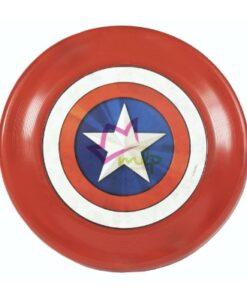 Frisbee Capitan America para perros y cachorros Avengers Capitán América© es un divertido juguete para perro, ideal para jugar al tiro y lanzar. Aporta beneficios para mantener al perro saludable ya que es ideal para que haga ejercicio y se divierta. Será el compañero perfecto de tu mascota. Producto oficial - Marvel©. Disco de goma TPR robusto y resistente. Seguro: al ser de goma protege la boca del perro. Proporciona agarre suave y seguro Impresión de 15 cm sobre TPR Apto para el agua Tamaño: 23 cm Composición: 100% TPR